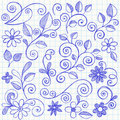 Sketchy Leaves and Vines Notebook Doodles Stock Photo