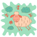 Sketchy little pink cute lamb with clouds and butterflies Royalty Free Stock Photo