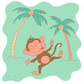 Sketchy little pink monkey on a background of palm trees Royalty Free Stock Photo