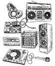 Sketchy music elements vector set Royalty Free Stock Images