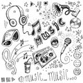 Sketchy music hand drawn illustrations Royalty Free Stock Images