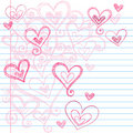 Sketchy Notebook Doodle Hearts Royalty Free Stock Photography