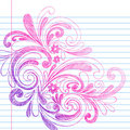 Sketchy Notebook Doodles on Lined Paper Vector Royalty Free Stock Photography