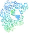Sketchy planet för klotterjordanteckningsbok Arkivfoton