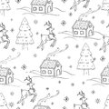 Sketchy seamless pattern vector hand drawn Doodle cartoon set of objects and symbols on the New Year theme. Royalty Free Stock Photo