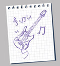 Sketchy stylized illustration of a guitar Stock Photography