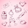 Sketchy valentine day icons cute Royalty Free Stock Image