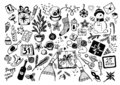 Sketchy vector hand-drawn doodle cartoon set of objects and symbols on New Year and Christmas theme. Royalty Free Stock Photo