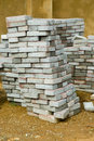 A skew stack paving tiles stacked of grey ready to be used Stock Photo