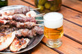 Skewers with cold beer Stock Images