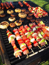 Skewers on grill Royalty Free Stock Image