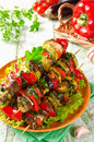 Skewers of grilled vegetables and cheese Royalty Free Stock Photo