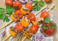 Skewers of meat and vegetables. horizontal photo. Royalty Free Stock Photo