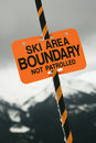 Ski area trail boundary sign. Stock Photo