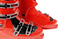 Ski boots all on a white background Royalty Free Stock Photo