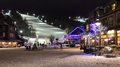 Ski chalet slopes under lights a popular resort in collingwood and the lit up at night Stock Photos