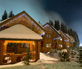 Ski chalets at night Royalty Free Stock Image