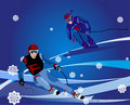 Ski-cross illustration Royalty Free Stock Photography