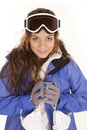 Ski girl mug looking Stock Images