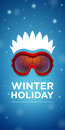 Ski goggles and hairstyle winter holiday on blue background Royalty Free Stock Images