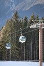 Ski gondola in Italian Dolomites Royalty Free Stock Photo