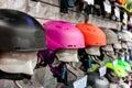 Ski helmet and ski goggles at store. Royalty Free Stock Photo