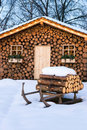 Ski hut in winter Stock Images
