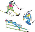 Ski jumping, Freestyle skiing and Snowboarding Royalty Free Stock Photo