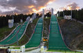 Ski jumping hill nizhny tagil russia circa sep the complex of hills is ready to the organisation of summer competitions circa sep Stock Photo