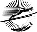 Ski jumping vector illustration in the engraving style Stock Image