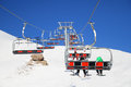 Ski lift, cablechair with skiers on a sunny day in ski resort Valfrejus