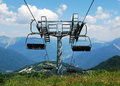 Ski lift on monte zoncolan in summer an empty chair mount friuli italy out of use during the Stock Photography