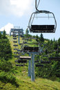 Ski lift on monte zoncolan in summer an empty chair mount friuli italy out of use during the Stock Image