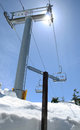 Ski lift and signage empty against clear sky on sunny day at grouse mountain vancouver canada Royalty Free Stock Photography