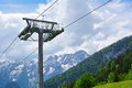 Ski lift in summer background Royalty Free Stock Image