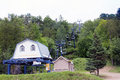 Ski lift in summer the deserted at mont tremblant the mont tremblant is a purpose built and resort the laurentian Stock Image
