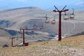 Ski lift in summer romania nature view of infrastructure bucegi mountains Royalty Free Stock Image