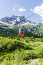 The ski lift to the top of the mountain at an altitude of meters in the alps mountainat italy Royalty Free Stock Photos