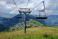 Ski lift tower in the summer time mast a mountain landscape at col de mollard french alps Royalty Free Stock Image