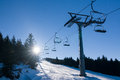 Ski lift and winter sunny day cervenohorske saddleback jeseniky mountains czech republic Royalty Free Stock Photos