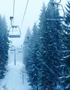 Ski lift in the wood Stock Photo