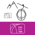 Ski pass for mountain hike vector icon. Royalty Free Stock Photo
