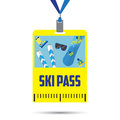 Ski pass template with barcode.blue ribbon .inventory for winter holidays.flat design Royalty Free Stock Photo