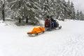 Ski patrol evacuate an injured skier jakuszyce poland february Royalty Free Stock Images