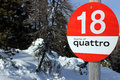 Ski piste bord red intermediate slope Royalty Free Stock Photography