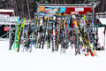 Ski rack at loon mountain racks in lincoln nh Royalty Free Stock Images