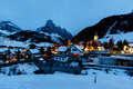 Ski Resort of Corvara at Night, Alta Badia Stock Photography