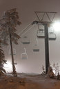 Ski resort elevators at night Stock Images