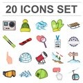 Ski resort and equipment cartoon icons in set collection for design. Entertainment and recreation vector symbol stock