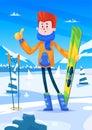 Ski resort holidays skier. Snow background. Flat